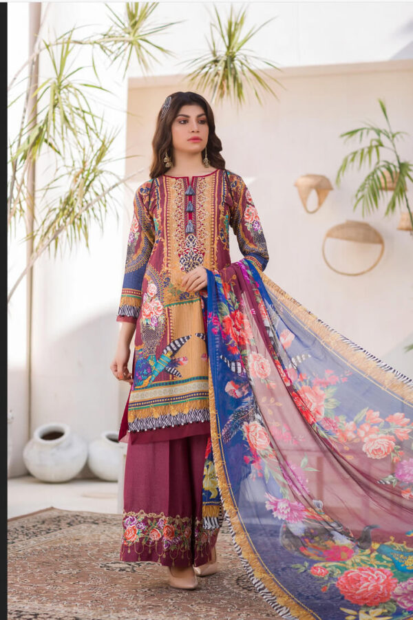 Blissa – Digital Embroidered Lawn Karandi